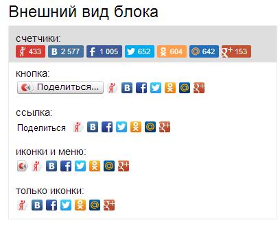 Блок поделиться с друзьями от Яндекса