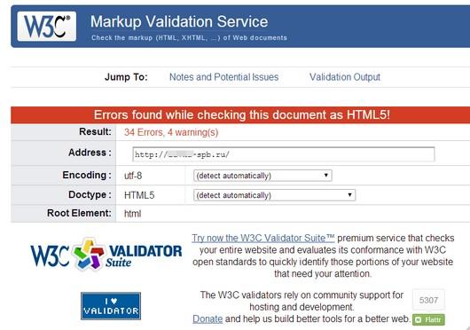 Проверка верстки сайта на соответствие стандартам